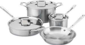 All-Clad BD005707-R D5 Brushed Bonded Dishwasher Safe Cookware Set