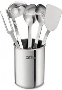 All-Clad TSET1 Stainless Steel Kitchen Tool Set Caddy Included, 6-Piece, Silver