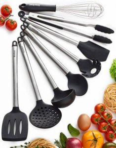 Braviloni Kitchen Utensils – 8 Piece Cooking Utensils – Nonstick Utensil Set