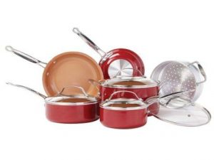 BulbHead 10824 Red Copper Cookware Set