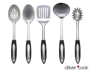 Clever Cook 5 piece Stainless Steel Set of Kitchen Utensils