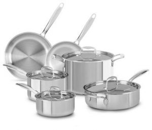 KitchenAid KCTS 10 SST Tri-Ply Stainless Steel 10-Piece Cookware Set