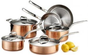 Lagostina Q554SA64 Martellata Tri-ply Hammered Stainless Steel Cookware Set
