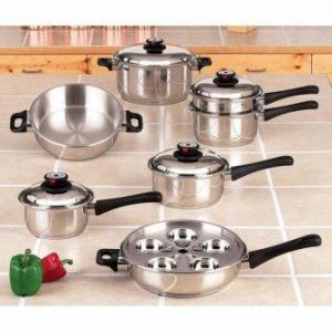 Maxam KT17 17-Piece 9-Element Surgical Stainless Steel Waterless Cookware Set