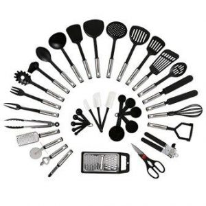 NEXGADGET 38-Piece Premium Cooking Utensils Stainless Steel and Nylon Kitchen Utensils Set
