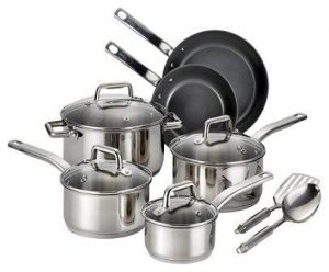 T-fal C718SC Precision Stainless Steel Nonstick Ceramic Coating Cookware Set