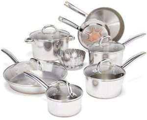 T-fal C836SD Ultimate Stainless Steel Copper-Bottom Heavy Gauge Multi-Layer Base Cookware Set