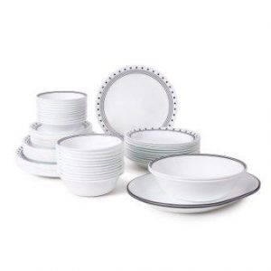 Corelle Livingware 76-Piece Dinnerware Set, Service for 12, City Block