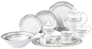 Lorenzo Import Victoria 57-Piece Wavy Porcelain Dinnerware Set