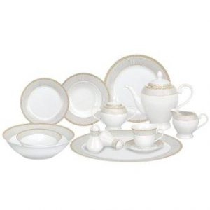 Lorren Home Trends 57-Piece Porcelain Dinnerware Set, Alina-GD, Service for 8