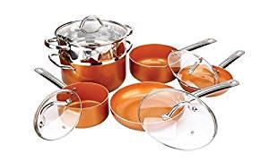 Copper pan 10-piece set luxury induction cookware set