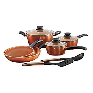 Eco-friendly home by gibson copper fusion non-stick 10-piece cookware set