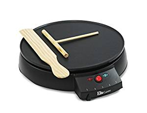 """Elite Cuisine ECP-126 Electric Crepe Maker and Non-stick Griddle with Spreader, Spatula,and Recipes, 12"""", Black"""