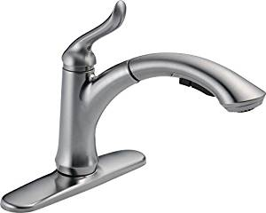 Delta 4353-AR-DST Linden Single-Handle Pull-Out Kitchen Faucet, Arctic Stainless