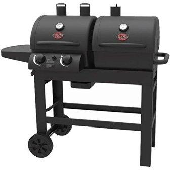 Char-Griller Dual 2 Burner Charcoal and Gas Grill with Stainless Steel Heat Gauges and Cast Iron Grate