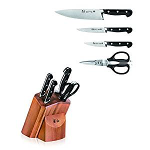 Cangshan V2 Series 1022520 German Steel Forged 5-Piece Starter Knife Block Set, Acacia