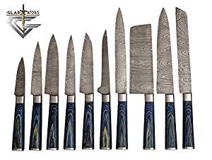 G25- Professional Kitchen Knifes Custom Made Damascus Steel 10 pcs of Professional Utility Chef Kitchen Knife Set