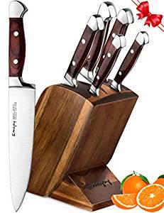 Knife Set, 6 Piece Kitchen Knife Set with Block Wooden, Self-Sharpening Manual for Chef Knife Set