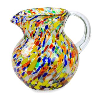 NOVICA Artisan Crafted Multicolor Recycled Glass Pitcher
