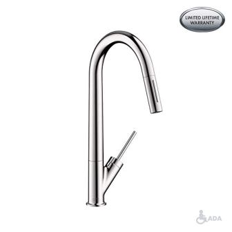 AXOR Starck Luxury 1-Handle 18-inch Tall Kitchen Faucet with Pull-Down Sprayer Magnetic Docking Spray Head in Chrome