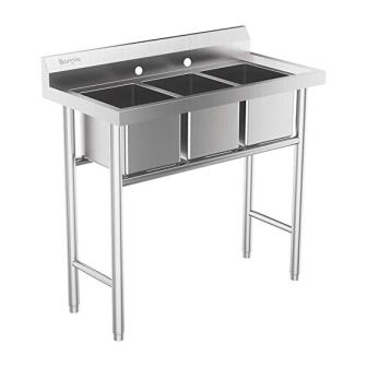 Bonnlo 3-Compartment 304 Stainless Steel Utility Sink