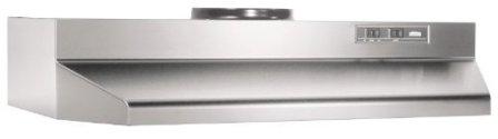 Broan Convertible Range Hood Insert with Light, Exhaust Fan for Under Cabinet, Stainless Steel, 6.0 Sones, 190 CFM, 36″