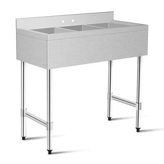 Giantex 3 Compartment Sink Kitchen Prep & Utility Sink