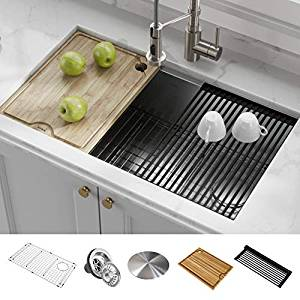 KRAUS KWU110-32 Kore Workstation 32-inch 16 Gauge Single Bowl Stainless Steel Kitchen Sink