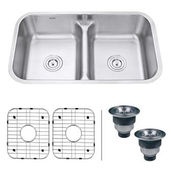 Ruvati 32-inch Low-Divide 50/50 Double Bowl Stainless Steel Kitchen Sink – RVM4350