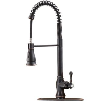 Shaco Antique Spring Single Handle Pull-Down Sprayer Oil Rubbed Bronze Kitchen Faucet