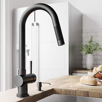 VIGO Gramercy 17 Inch Single Handle Pulldown Arc Brass Kitchen Sink Faucet in Plated Matte Black Finish
