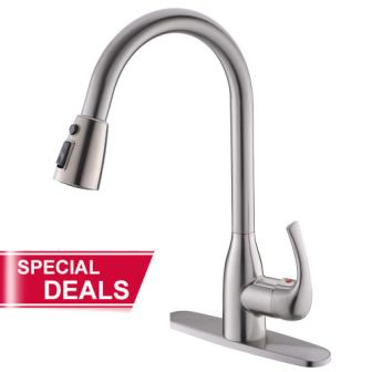 Valisy Lead-Free Commercial Stainless Steel High-Arch Kitchen Sink Faucet