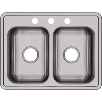 Dayton D225193 Equal Double Bowl Top Mount Stainless Steel Kitchen Sink