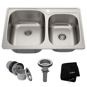Kraus KTM33 Top Mount Double Bowl Kitchen Sink