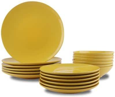 AmazonBasics 18-Piece Stoneware Dinnerware Set- AmazonBasics