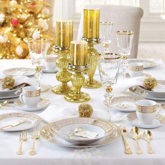 Brylanehome Golden Ceramic Dinnerware Set