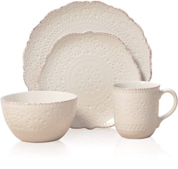 Chateau Cream 16-Piece Stoneware Dinnerware Set- Pfaltzgraff
