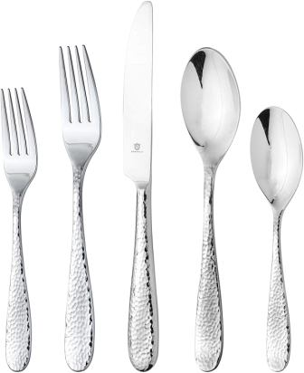 Danialli Modern Hammered Stainless Steel Flatware Set