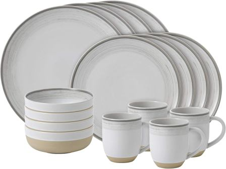 ED Ellen Degeneres Brushed Glaze Dinner Set in White- Royal Doulton