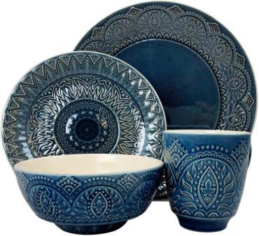Elama ELM Petra 16 Piece Stoneware Dinnerware Set- Elama