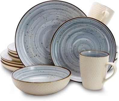 Elama ELMELLOWBLUE Mellow Dinnerware Set- Elama