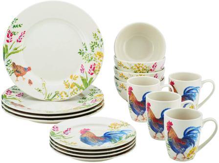 Garden Rooster 16-Piece Stoneware Dinnerware Set- Paula Deen