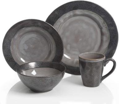 Gibson Dragonstone dinnerware set grey stoneware- Gibson