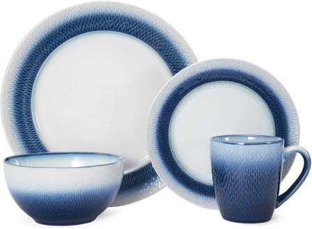 Pfaltzgraff Eclipse Blue Stoneware Round Dinnerware Set- Pfaltzgraff