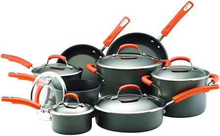 Rachael Ray 87000 bright hard-anodized non-stick cookware pots and pans set