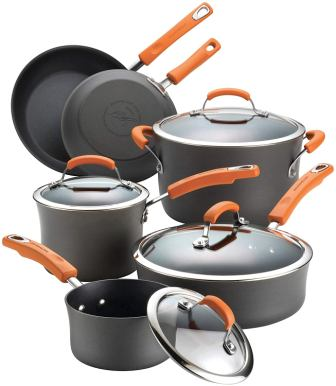 Rachael Ray 87375 brights hard anodized cookware pots and pan 10-piece set