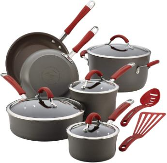 Rachael Ray 87630 Cucina hard-anodized non-stick cookware pots and pans 12-piece set