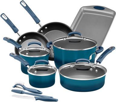 Rachael Ray Classic Hard Enamel 14-Piece Set Nonstick Cookware Marine Blue