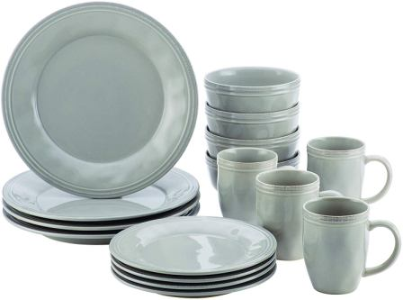 Rachael Ray Cucina Stoneware Dinnerware Set, Sea Salt Grey-Rachael Ray
