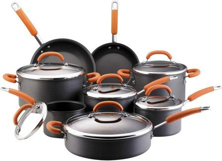 Rachael Ray Hard-Anodized Non-Stick 14 Piece Cookware Set, Orange
